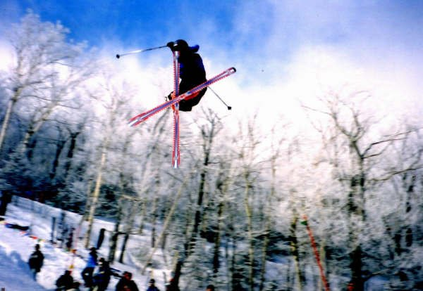 Jon crosses it up...Jay Peak big air 2004