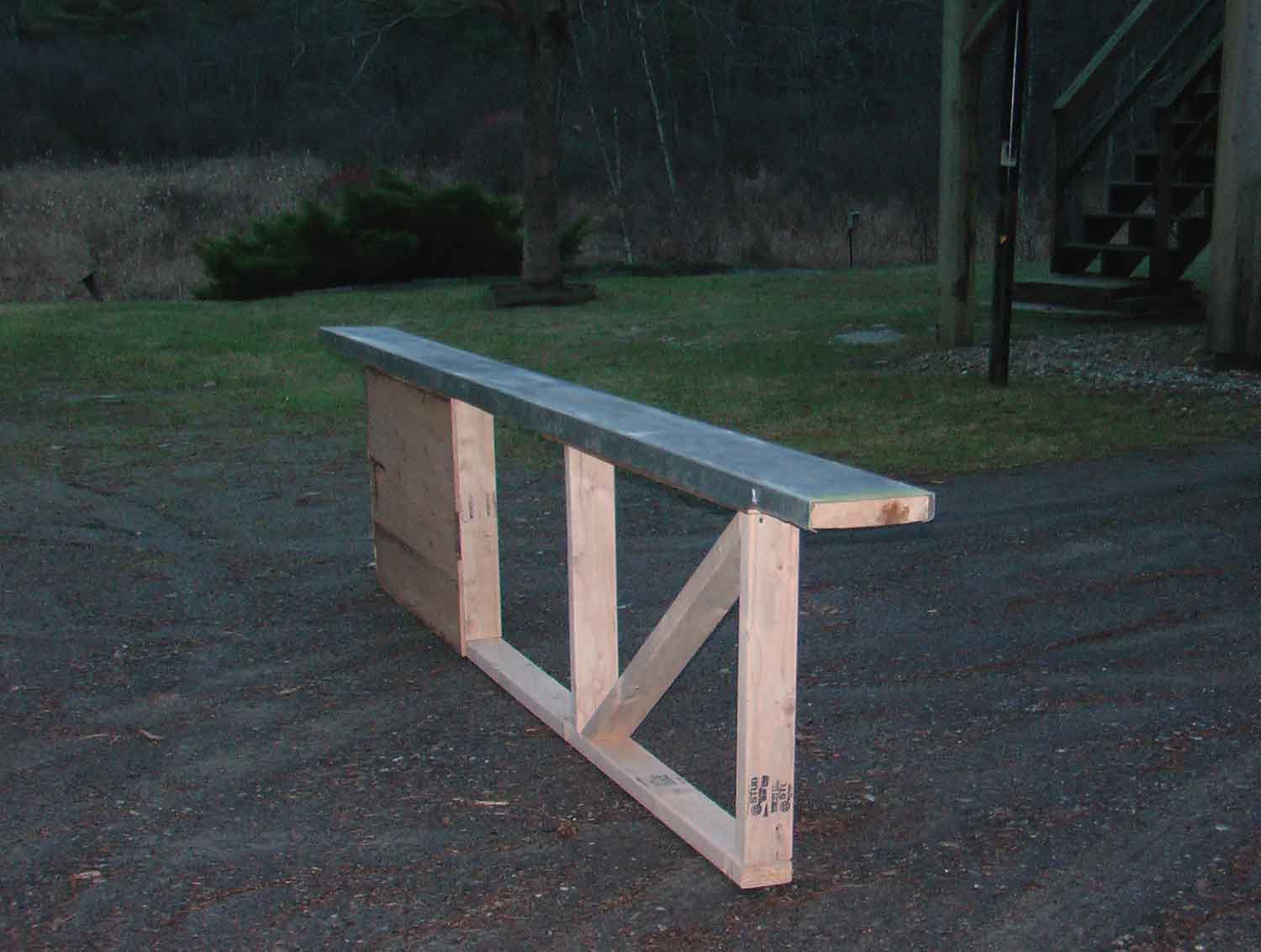 """Metal rail I just built - 10', 7"""" wide, a little over 2' off the ground"""