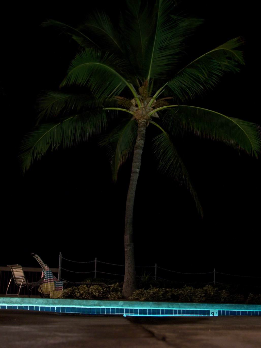 Long shutter at night by the pool