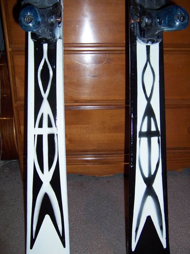 the tails of my painted skis