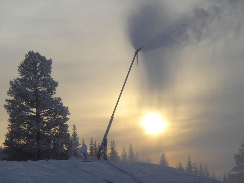 Wonderful picture of hafjell, norway. snow canon in sunset