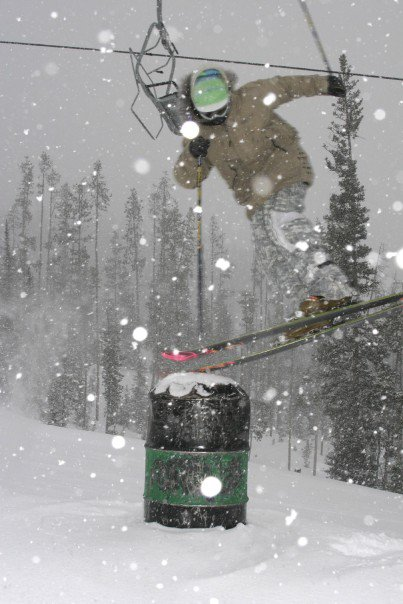 Nose Tappin a can in a dumping snow