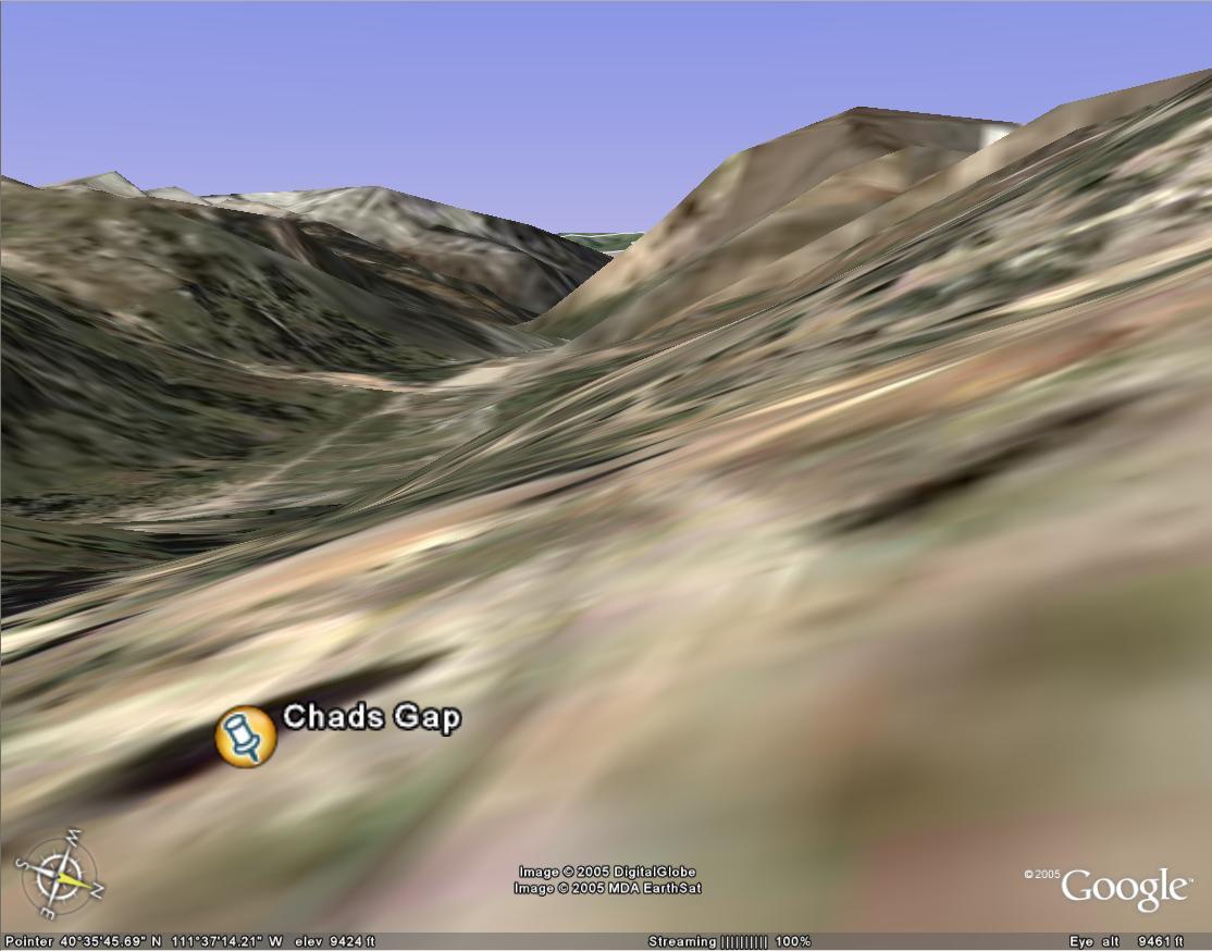 Chads Gap on Google Earth