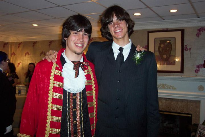 My friend (prom king who went as a pirate) and me