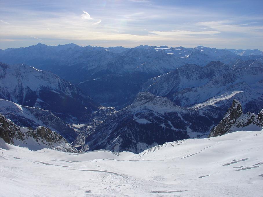 Glacier de Toul (3), view over Courmayeur