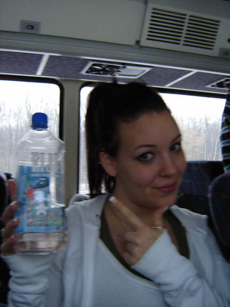 my sister-stoked about her square waterbottle..