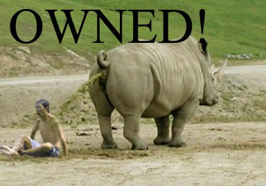 chineese kid gets pooed on by a rhino