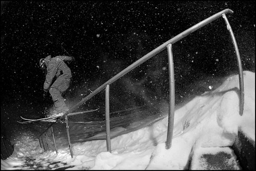 Rail in snowstorm