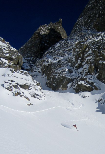 Exiting the Coombs-Tanner Couloir