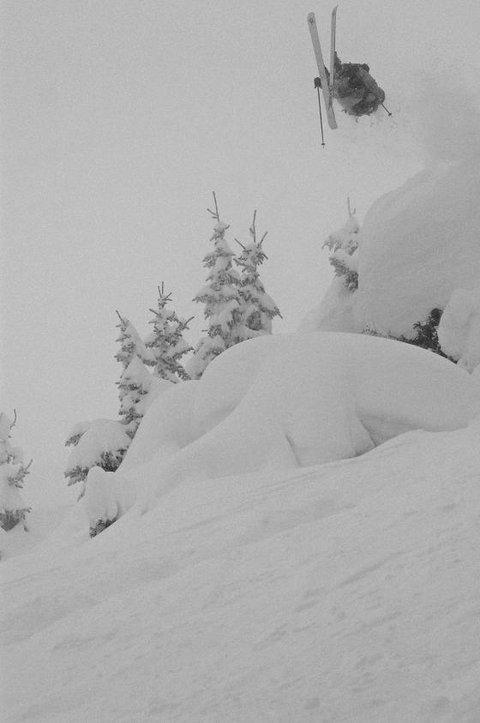 foggy backflip black and white