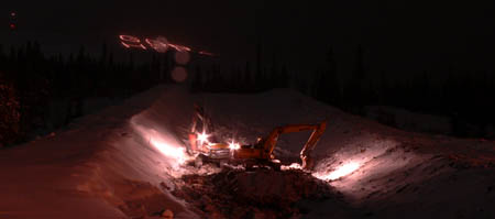 This is a picture of a huge superpipe , but its not finished yet . Its about 500feet long and 6metre