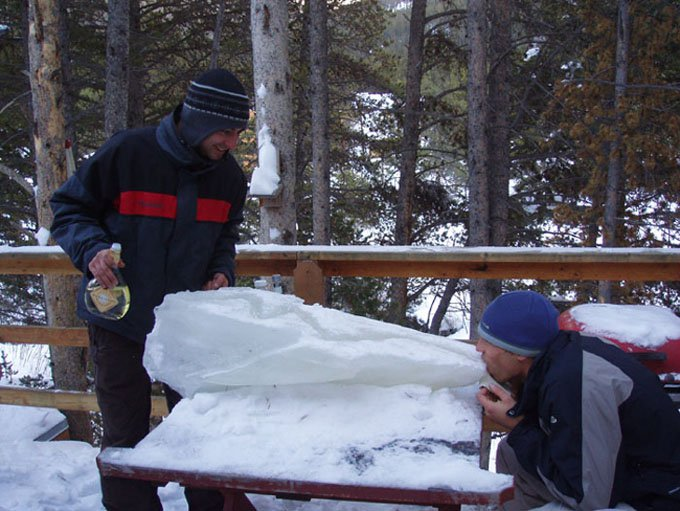 Ice luge we broke off the roof