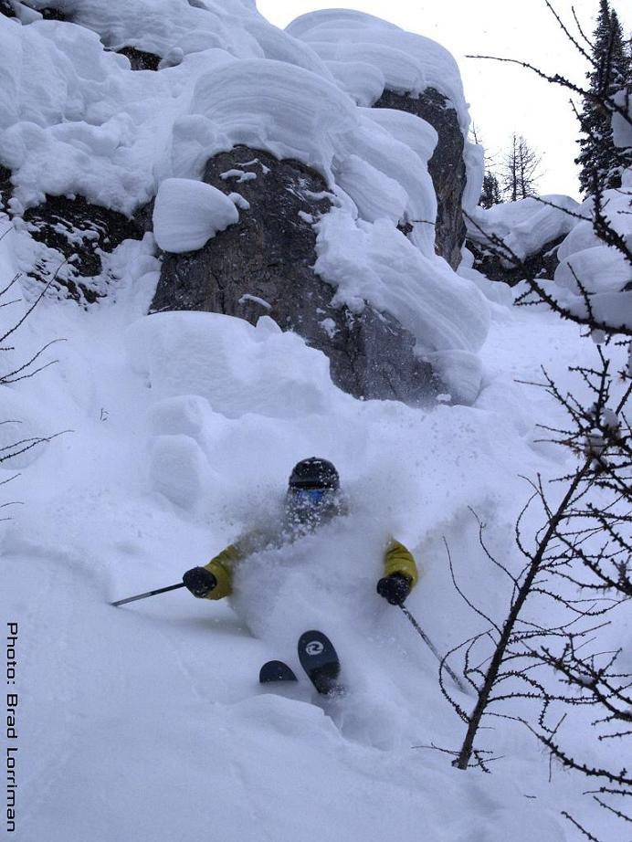 Skiing Some Pow in the dive
