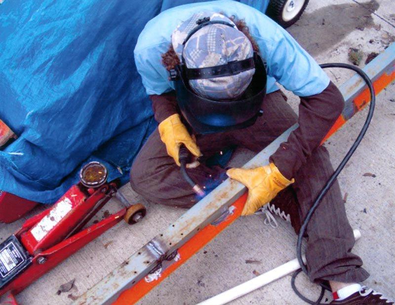 welding new rail to skate.
