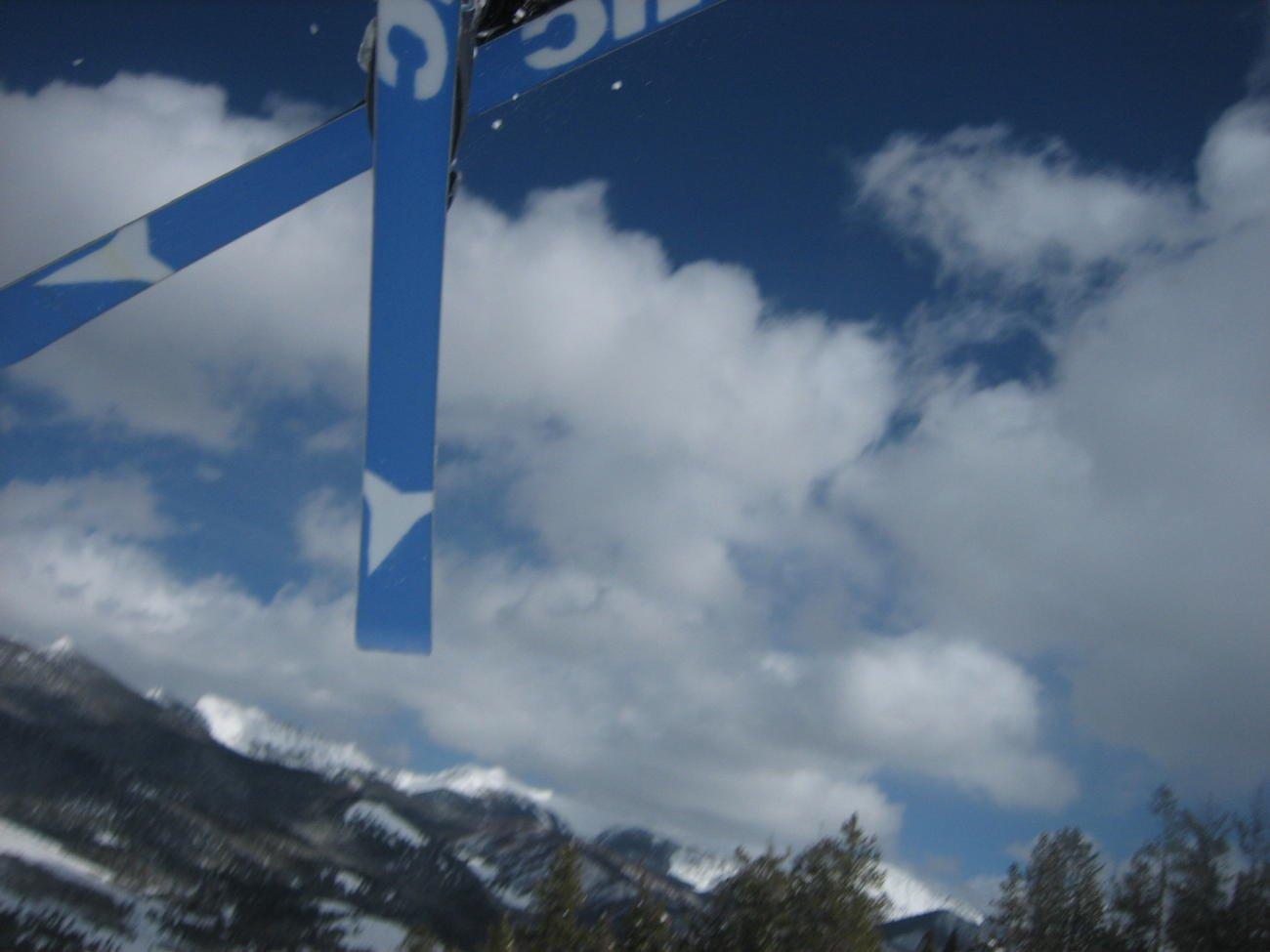 close shot of skis