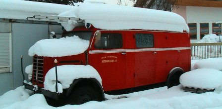 Old School firetruck in the snow