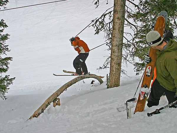 Rob on the log and Mike watching!