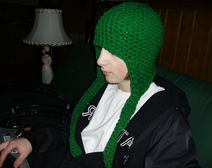 green hat w/ big earflaps