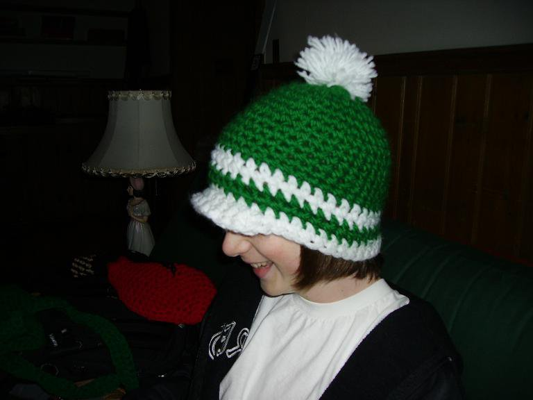 green and white hat