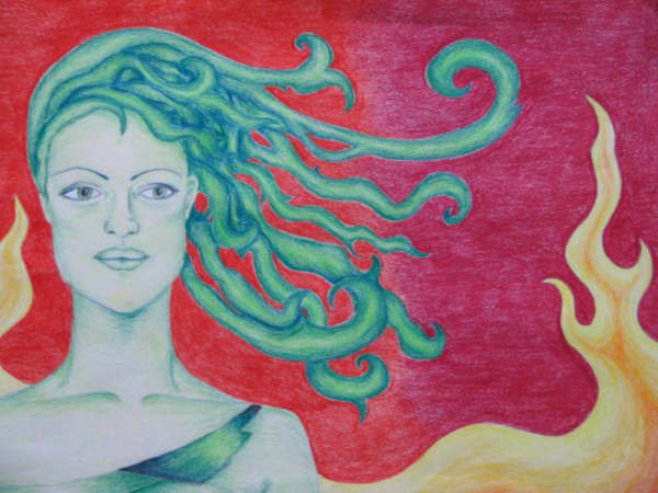 Drawing of a green woman