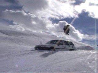car Jump 180 (telemark)