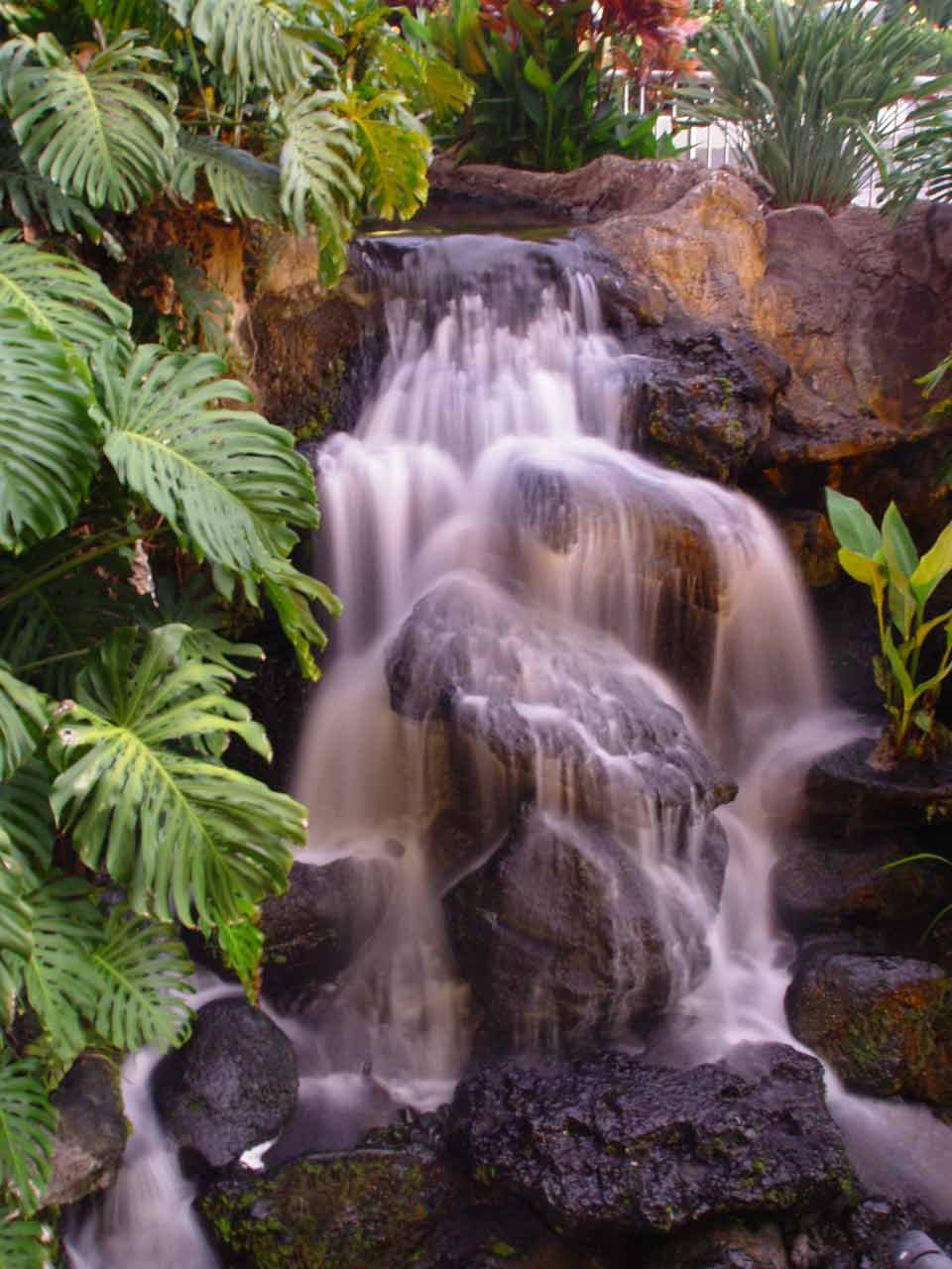 waterfall, with light delay