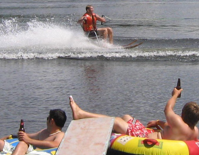 So we bolted a chair to some water skis