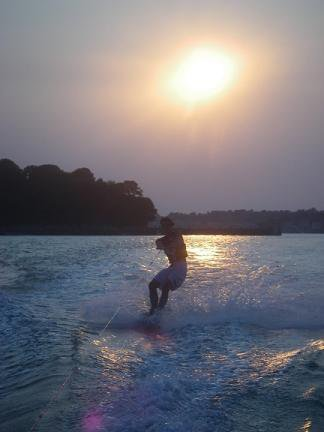 Wakeboarding at Dusk