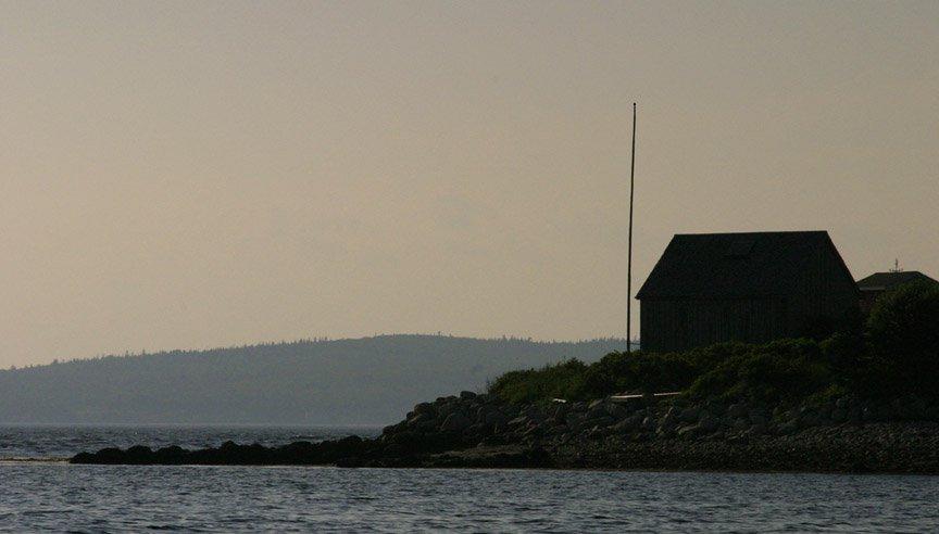 House on a point at dusk