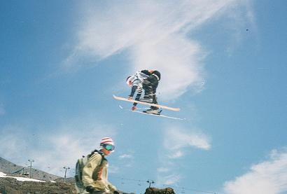 Jumping over retarded snowboarder