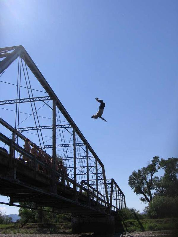 Backflip of the top of the bridge