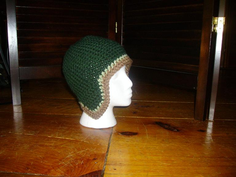 Green and brown beanie