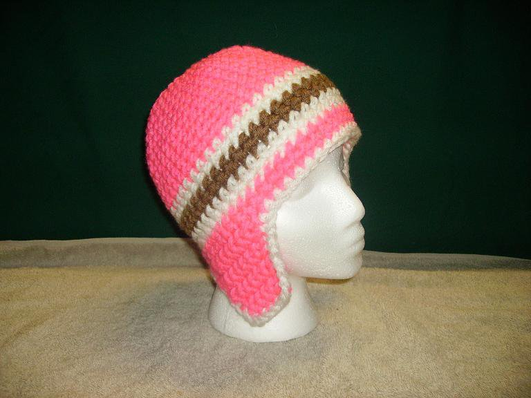 Pink white and brown beanie
