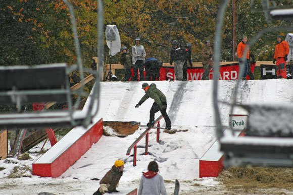 Rail Jam today - Snow in October!