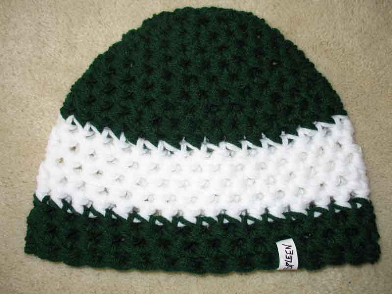 Green/white hat for someone