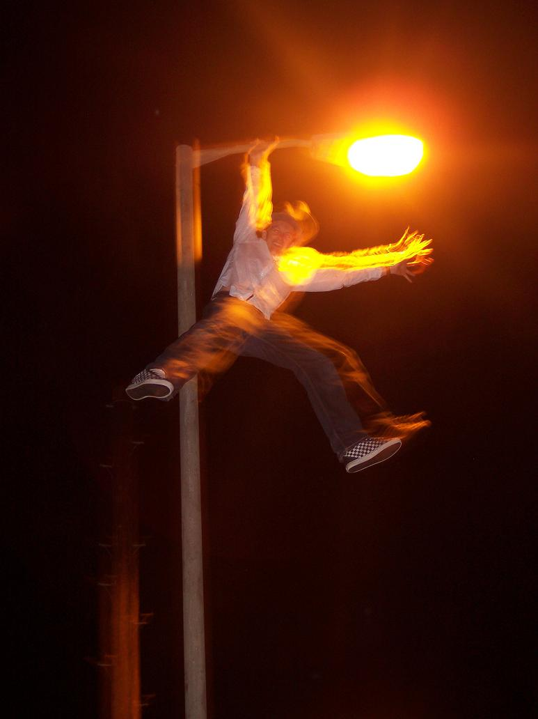 Flatmate on a lamp post