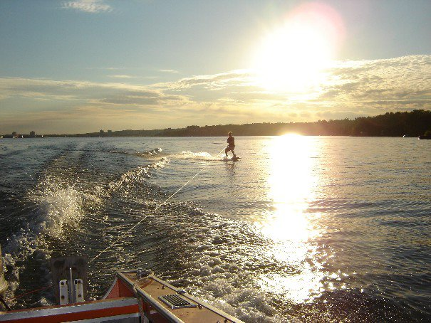 Wakeboarding sunset