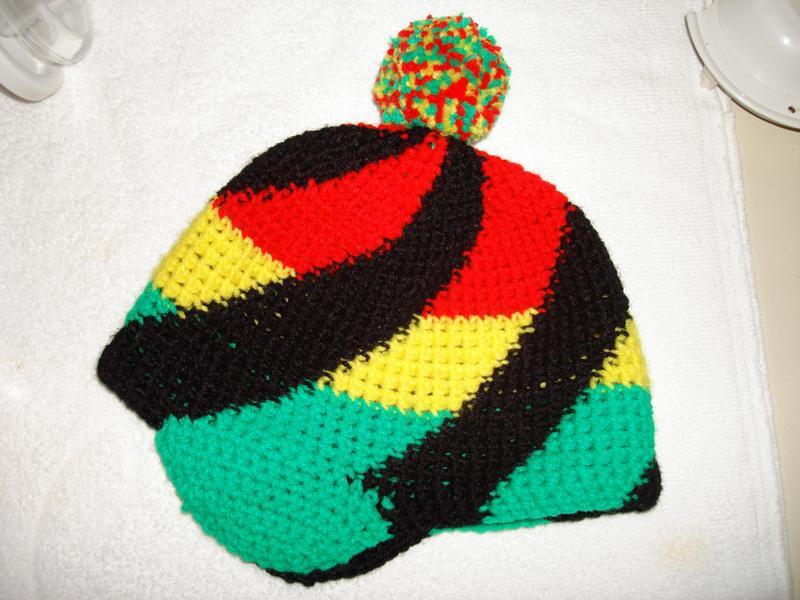 Crocheted swirl rasta hat