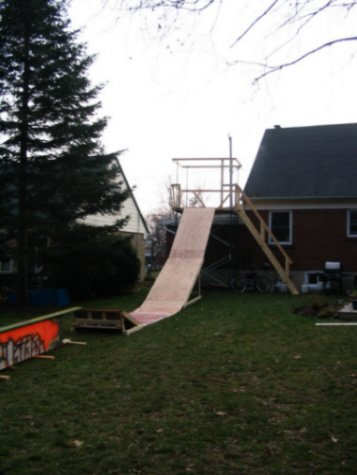 Drop and rail In Backyard