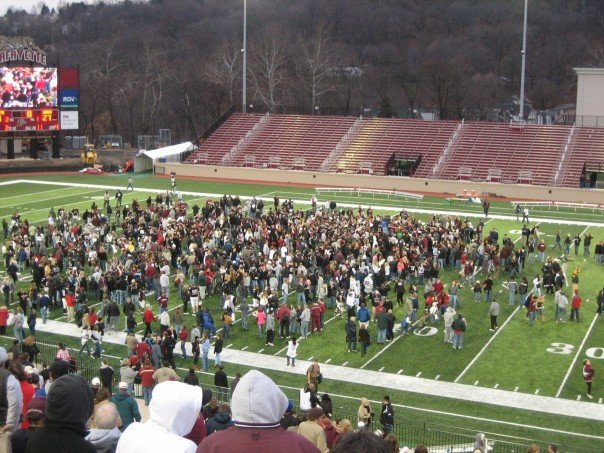 Storming the field!
