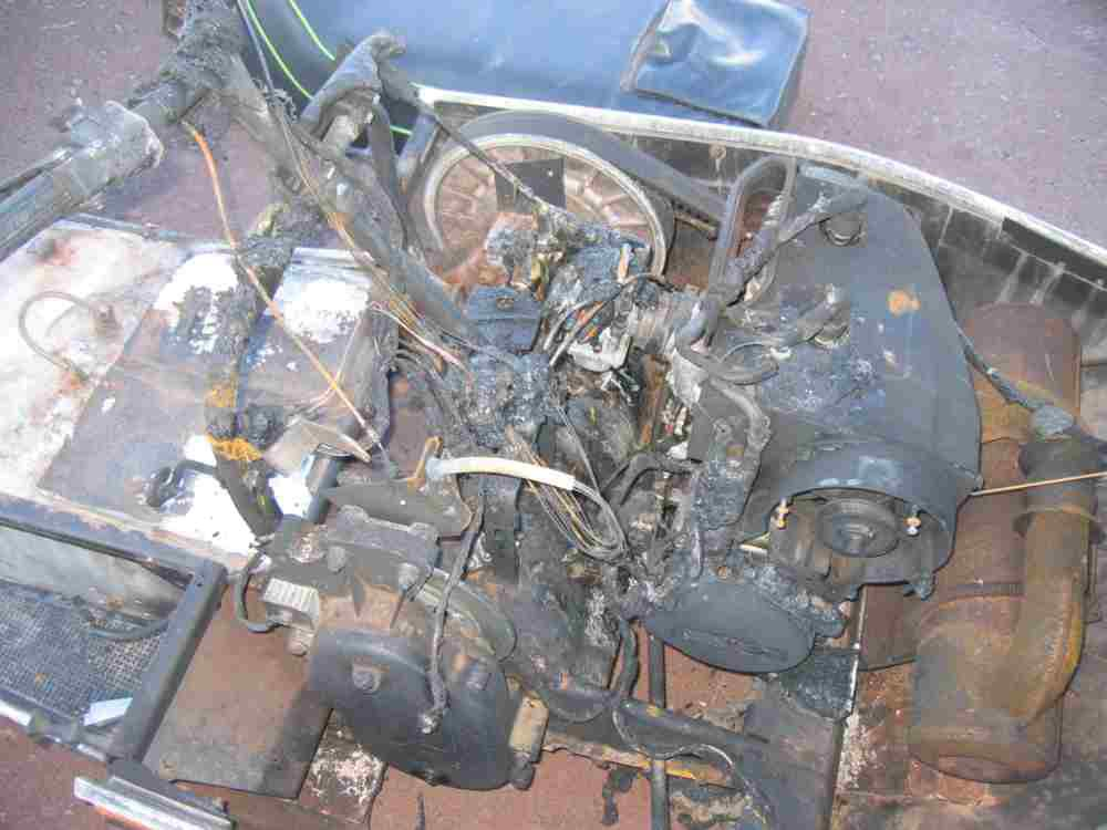 Burned up snowmobile