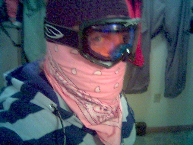 Bandana sewn onto full face ski mask