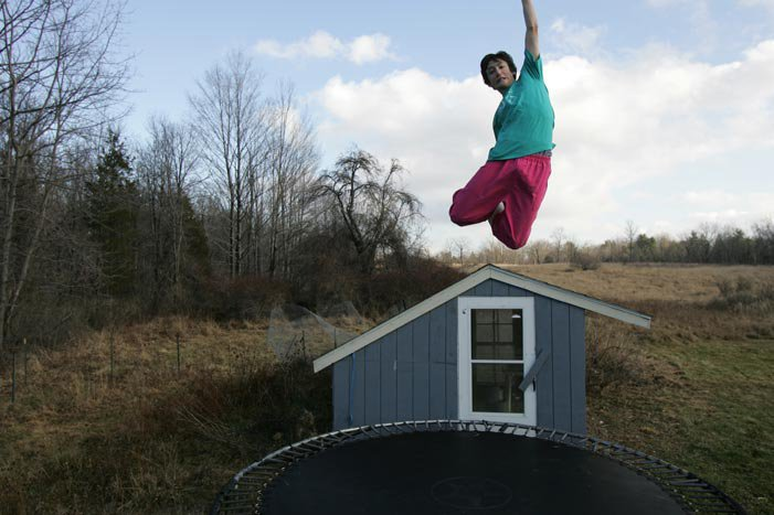 Jumping on my trampoline