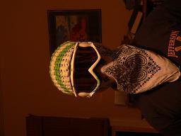 Crocheted Hat/Fuse Woodcuts/White