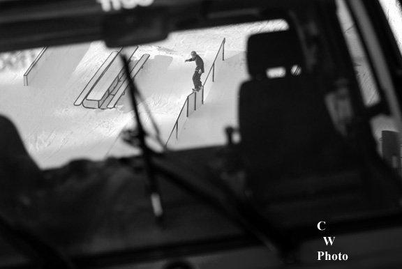 Not a skier either, shot through snowcat windows