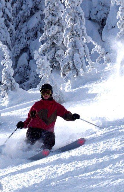 Skiing at red
