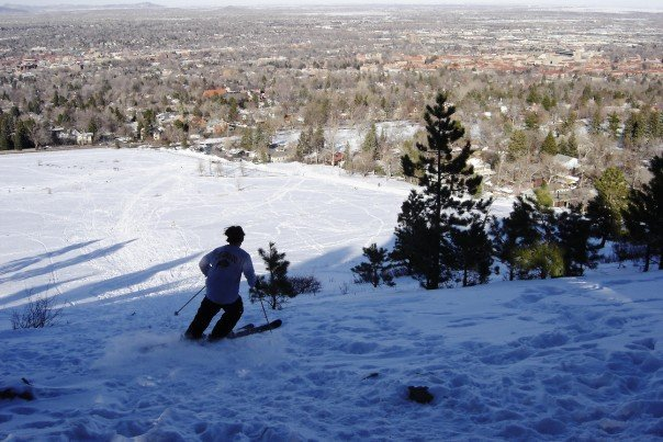 Skiing above town today