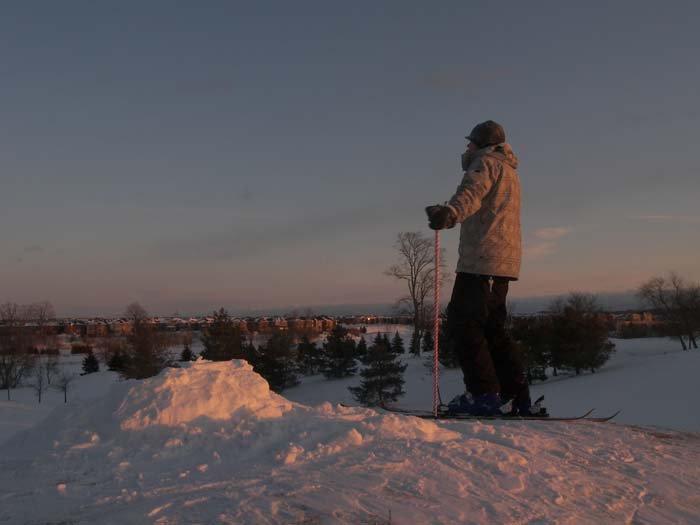 Standing around at sunset