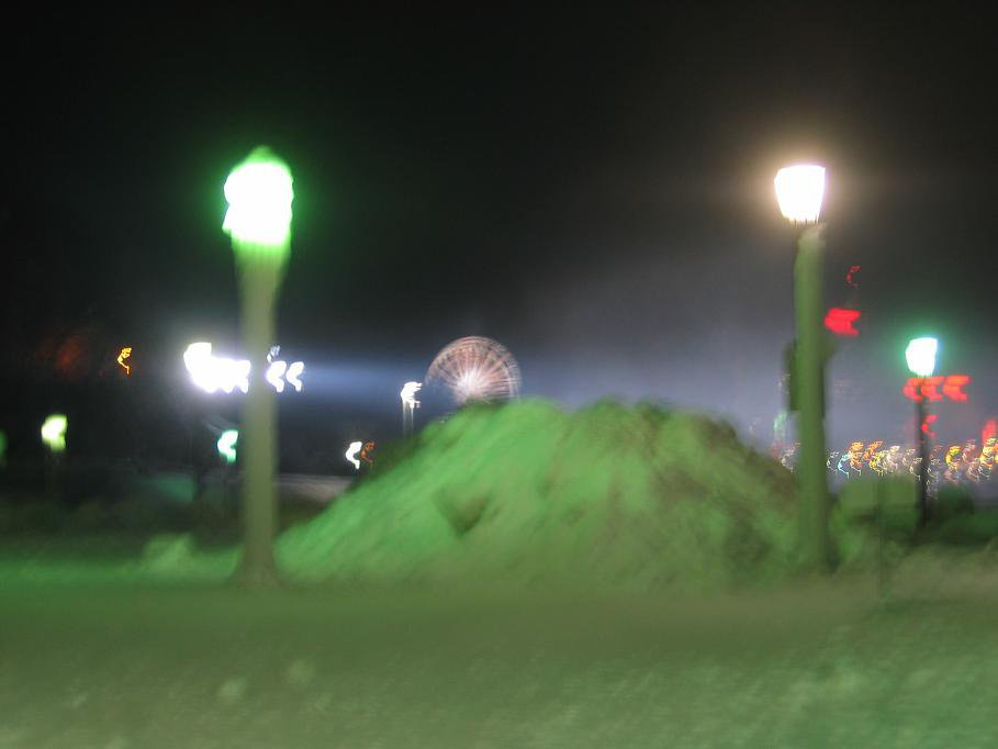 Green snow and ice