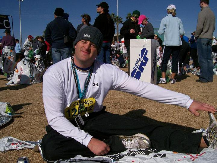 Right after finishing my first marathon.